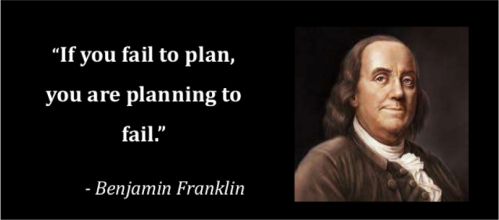 if you fail to plan you are planning to fail (B. Franklin)